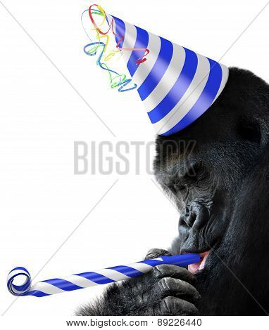 Gorilla party animal wearing a striped birthday hat and blowing a noisemaker