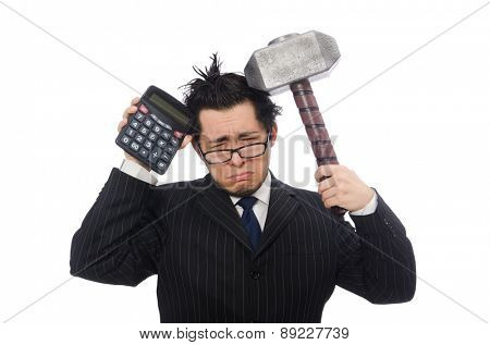 Young funny employee with calculator and hammer isolated on white