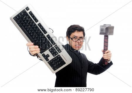 Young employee with keyboard isolated on white