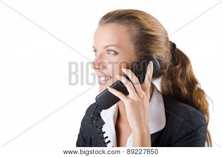 Pretty office manager speaking on the phone isolated on white