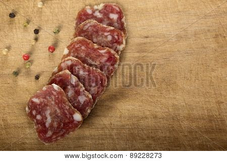 Salami On A Wooden Table