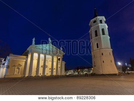 The Cathedral Square in central Vilnius during twilight time, Lithuania, Europe