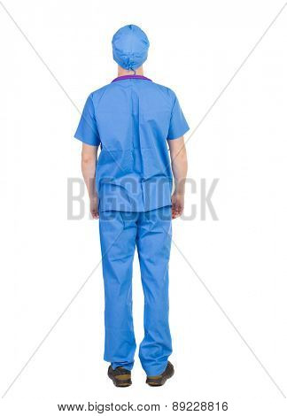 Back view of doctor in robe. Standing young guy. Rear view people collection.  backside view of person.  Isolated over white background. The nurse rushes to the aid