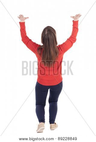 back view woman holds something big and heavy on top. Rear view people collection.  backside view of person.  Isolated over white background.