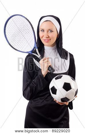 Pretty nun with sport equipment isolated on white