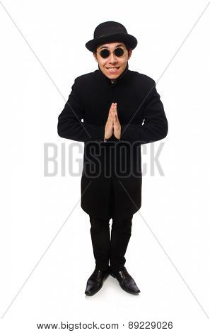 Man wearing black coat isolated on white