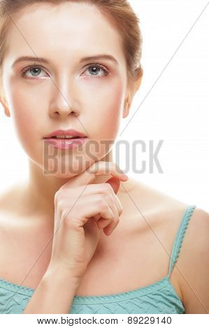 beautiful young girl with clean skin