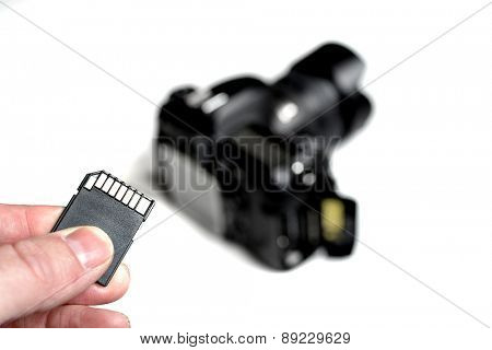 Detail of flash memory card sd for digital camera blurry