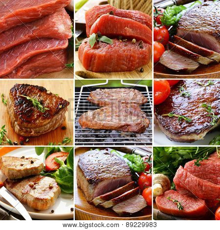 collage of different kinds of raw meat beef and roasted meat