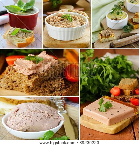 collage of different variants of liver pate