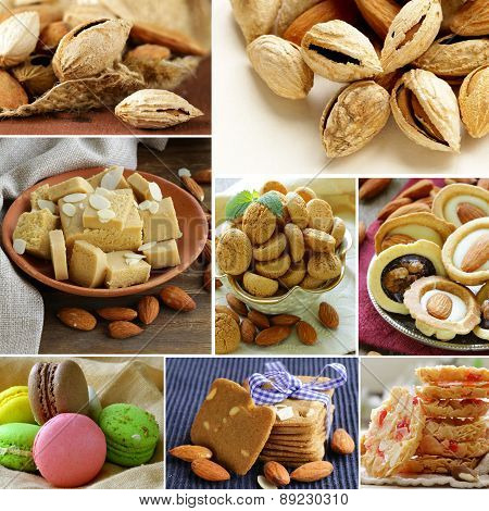 collage almond and nut products - marzipan, macaroon, cookies