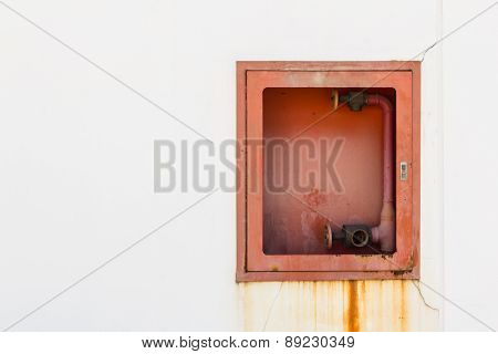 Fire Hose Cabinet On White Wall