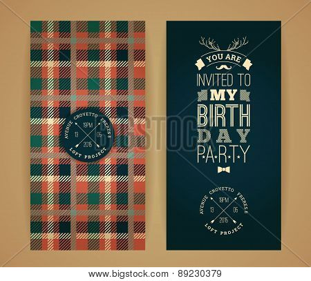 Happy Birthday Invitation, Vintage Retro Background With Plaid Pattern.