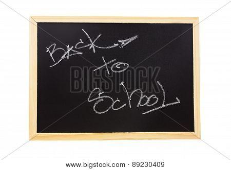 text of back to school on blackboard