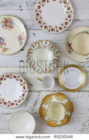 Antique Figure Plates Assorted Vintage China Pattern White Background