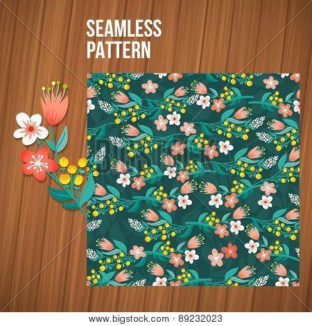 Seamless flower pattern set. Summer tiny floral backgrounds on wood planks.