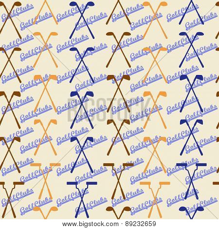 Golf sport clubs seamless texture in vintage style.  Driver, wood, iron, wedge, putter  clubs and cl