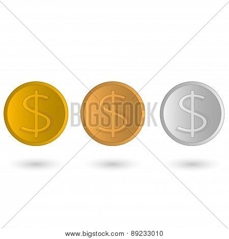 bronze, gold and silver dollar, set