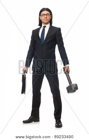 Handsome businessman holding hammer and case isolated on white