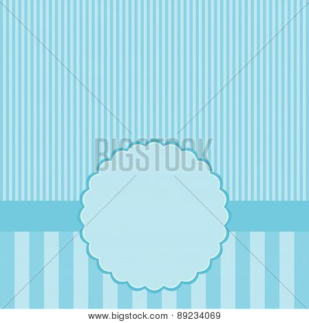 Blue Template Of Greeting Card.