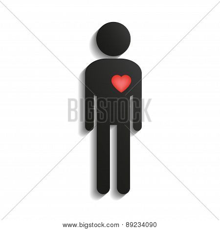 stick figure with heart