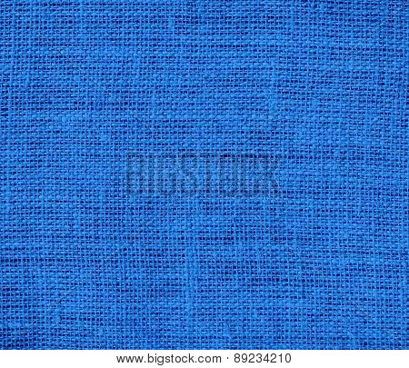 Bright navy blue color burlap texture background