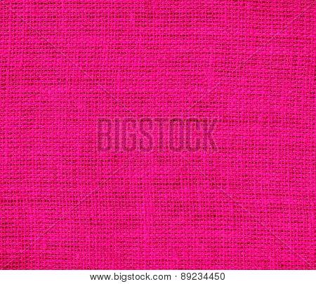 Bright pink color burlap texture background