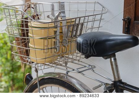 The Thailand Traditional Tiffin In Bicycle Basket
