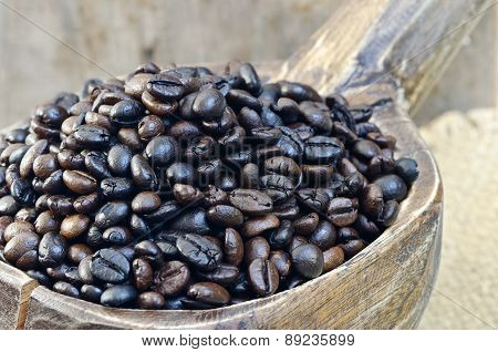 Coffee Bean In Wooden Blow