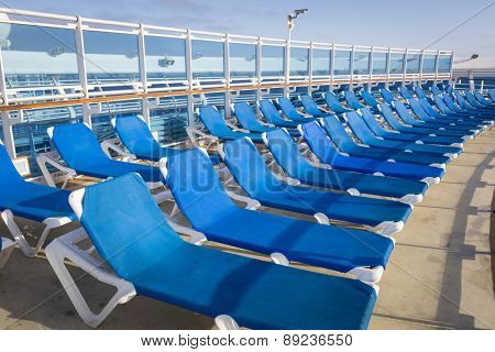 Abstract of Luxury Passenger Cruise Ship Deck and Chairs.