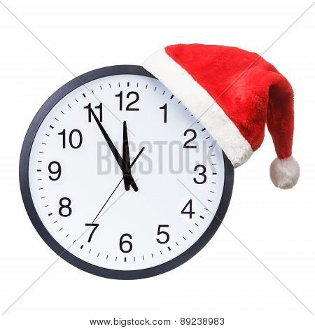 Santa hat and clock