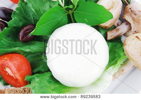 mozzarella cheese and tomatoes over white plate