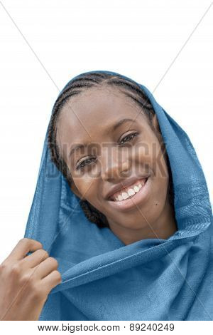 Portrait of a young Afro girl smiling