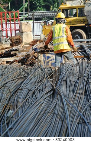 A construction workers working at Steel bar bending yard