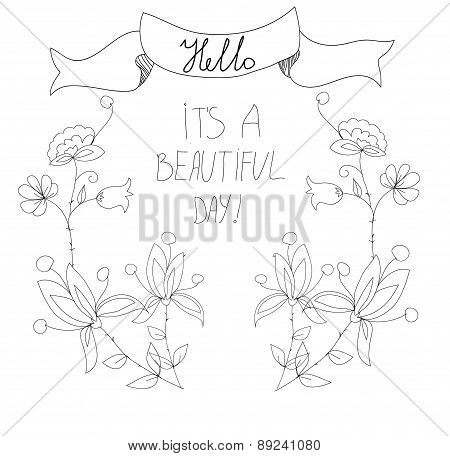 background with flowers and ribbon with the inscription day