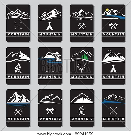 set of twelve mountain cards