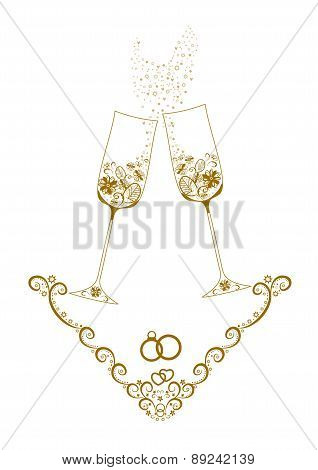 Wedding glasses with champagne