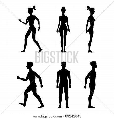 Collection Of Silhouettes Man And Woman. Vector Illustration, Isolated