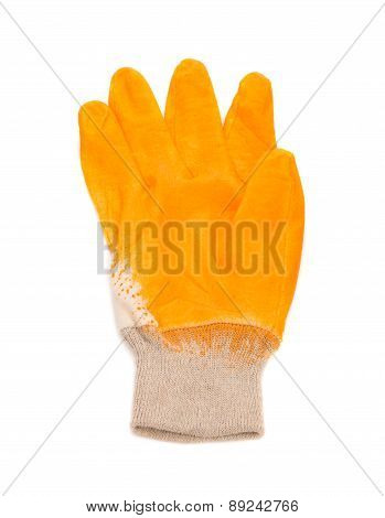 Close up of yellow rubber glove.