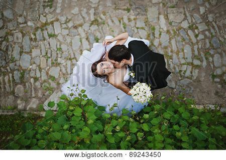 Young Beautiful Wedding Couple From High