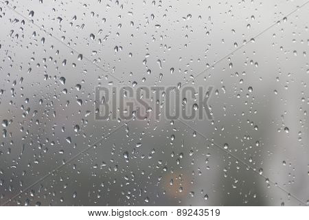 Raindrop, Water Drops On A Glass Surface Of Window.