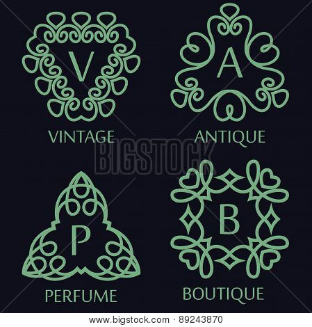 Set Of Monochrome Monogram Design Templates, Vector Illustration