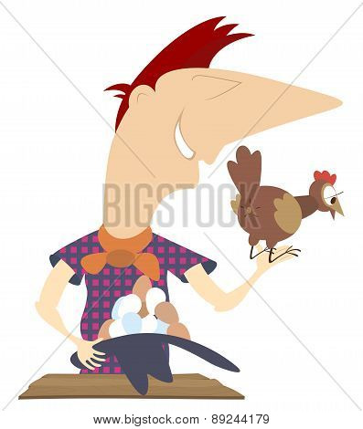 Laying hen and a farmer