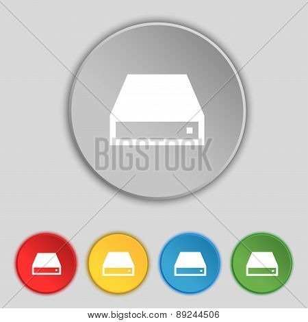 Cd-rom Icon Sign. Symbol On Five Flat Buttons. Vector