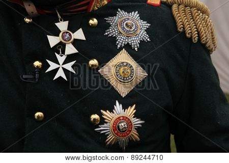 TVAROZNA, CZECH REPUBLIC - DECEMBER 3, 2011: Russian imperial military decorations seen fixed on uniform during the re-enactment of the Battle of Austerlitz (1805) near Tvarozna, Czech Republic.