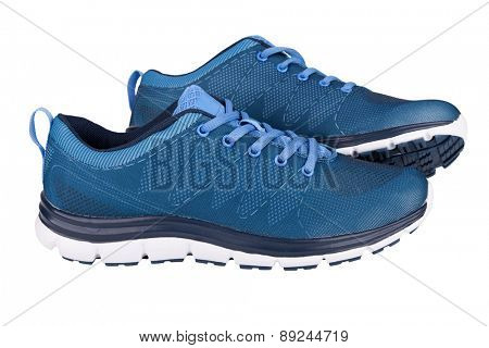 Blue sneakers isolated on white
