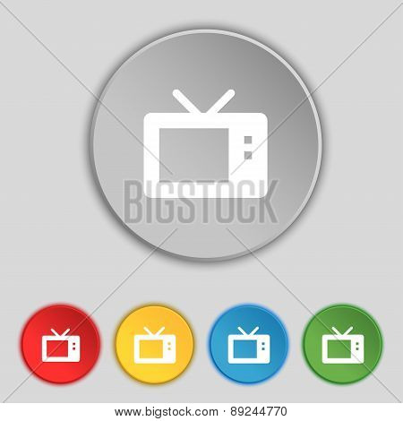 Retro Tv Mode Icon Sign. Symbol On Five Flat Buttons. Vector