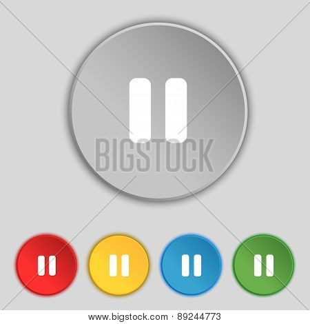 Pause Icon Sign. Symbol On Five Flat Buttons. Vector