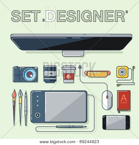 Flat design vector illustration icons set of graphic designer items, tools and equipment.