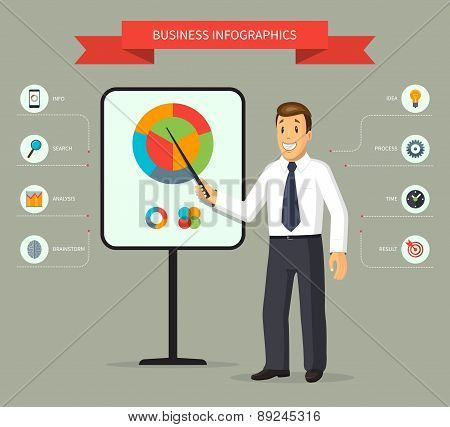 Smiling cartoon businessman giving a presentation